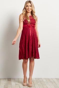 Burgundy Lace Overlay Sleeveless Sash Tie Dress