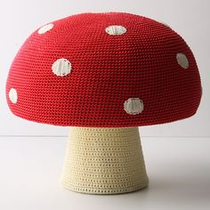 Cute mushroom pouf **Jess! If I knew how to knit, I would make this for you myself.