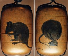 Case (Inrō) with Design of Two Rats Eating Fish Head and Bones, 19th century. Japanese. The Metropolitan Museum of Art, New York. H. O. Havemeyer Collection, Bequest of Mrs. H. O. Havemeyer, 1929 (29.100.782) #Halloween