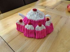 knitted cupcake tea cosy and egg cosy set