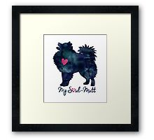 American Eskimo Dog Breed Silhouette Black Watercolor Soul-Mutt Valentine • Also buy this artwork on stickers, apparel, phone cases, and more. Framed Print