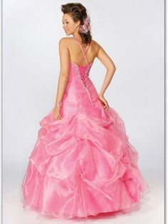 2012 Style A-line Spaghetti Straps  Beading  Sleeveless Floor-length Organza Pink Prom Dress / Evening Dress