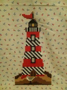 light house in perler beads | Perler Lighthouse with seagull
