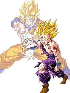 Father and Son Dragon Ball Z, Dragon Z, Goku And Gohan, Goku Ssj6, Dbz Drawings, Z Tattoo, Dbz Characters, Z Arts, Ideas