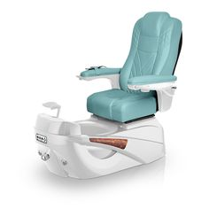 Luminous pedi-spa shown in Neptune Ultraleather cushion, White Pearl base, Aurora LED Color-Changing bowl (shown in off-mode)