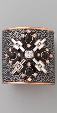 Tory Burch    Multi Jeweled Leather Cuff  Style #:TORYB40461
