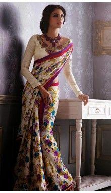 Multi Designer Chiffon Saree @ Rs.1,390