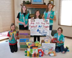 The girls of Troop 3422 in Colorado Springs earned their Bronze award by collecting art supplies at their school for the Boys and Girls Club's afterschool program. Well done girls! #BronzeAward