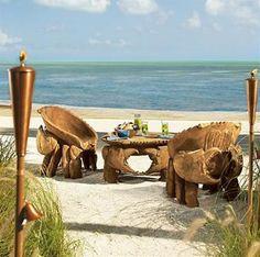 Teak Wood Beach Dining Furniture