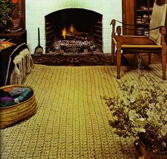 "Pattern for a sisal rug. ""With the simplest crochet stitches, a wonderfully textured room-size or area rug can be made with natural sisal rope."""