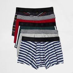 River Island Navy retro print boxers pack (€26) ❤ liked on Polyvore featuring men's fashion, men's clothing, men's underwear and underwear