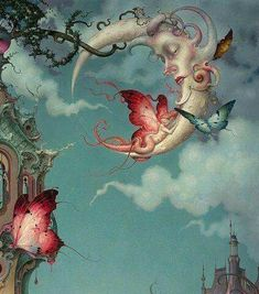 Foto Fantasy, Fantasy Art, Art Fantaisiste, Mark Ryden, Vintage Moon, Tatoo Art, Tattoo, Wow Art, Art Et Illustration