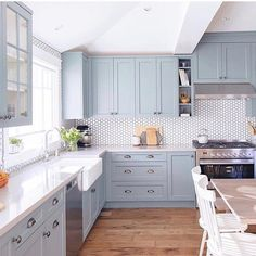 Beautiful soft blue kitchen : @jillian.harris . . . . . . . #decorideas #homedesign #interiordesign#designinspiration #homedecor#homewithrue #homestyling #homeinspo#interiorandhome #homeinspiration#interiordetails #simplestylehome#currenthomeview #apartmenttherapy#mydomaine #sodomino #mycovetedhome#theeverygirlathome #ggathome#interiorinspo #interiorstyling #myoklstyle#elledecor #flashesofdelight#myhousebeautiful #ltkhome#howyouhome #lalainteriors