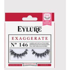 Eylure Exaggerate No.146 False Lashes ($9.04) via Polyvore featuring beauty products, makeup, eye makeup, false eyelashes y black