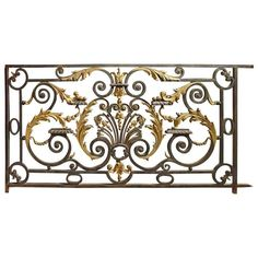 Antique Balcony Gate from a Normandy Castle, Wrought Iron Handrail, Iron Handrails, Iron Stair Railing, Metal Stairs, Staircase Railings, Wrought Iron Gates, Staircase Design, Balcony Grill Design, Balcony Railing Design