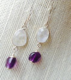 Moonstone and Amethyst Earrings  February by MingJewelsChic