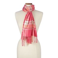 Lands' End Multi Cashtouch Plaid Scarf Tartan Plaid Scarf, Pink Shawl, Pink Scarves, Lands End, Cashmere, Christmas Ideas, Polyvore, Fabric, How To Wear