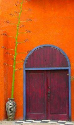 colorful doors: WRITERS PROMPT:I found him in Mexico, in a shabby orange stucco building. When I banged on the heavy wooden door, it. Cool Doors, Unique Doors, The Doors, Windows And Doors, Door Knockers, Door Knobs, When One Door Closes, Door Gate, Closed Doors