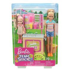 Open a lemonade stand with this Barbie Team Stacie Doll and Accessories featuring a rolling lemonade stand. Explore more Stacie dolls at our Barbie shop today! Mattel Barbie, Barbie Stacie Doll, Barbie Chelsea Doll, Barbie Kids, Barbie Family, Barbie And Ken, Barbie Dolls, Barbie Room, Doll Clothes Barbie