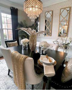 Luxury Dining Room, Dining Room Design, Dining Rooms, Dining Chairs, Dining Table, Decor Home Living Room, Living Room Remodel, Home Design Decor, Home Interior Design