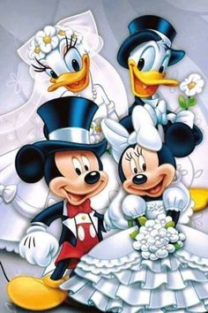 wedding beauty couple Double wedding of Mickey Mouse and Minnie Mouse, Donald Duck and Daisy Duck.
