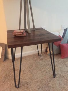 End table made to order reclaimed wood by Vintagesteelandwood