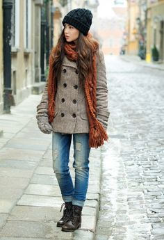 Hat, scarf, and coat