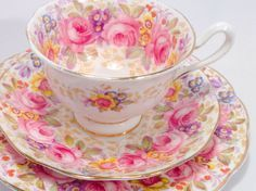 Royal Albert Serena Avon Shape Tea Cup and Saucer Vintage Royal Albert Fine Bone China tea cup, saucer and dessert plate. This trio has the Serena pattern and features large pink roses with an Tea Cup Set, My Cup Of Tea, Tea Cup Saucer, Royal Albert, Vintage Dishes, Vintage China, Vintage Teacups, China Tea Sets, Bone China Tea Cups