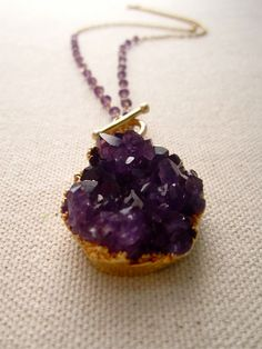 Gold Dipped Amethyst Geode Drusy Druzy Cluster by julianneblumlo