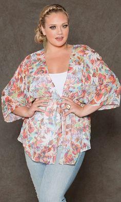 07607f2dbcf Paige Chiffon Kimono Plus Size Summer Outfit