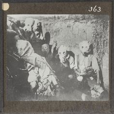 British troops wearing gas hoods in the trenches at Salonika, 1917.