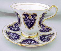 ROYAL TUSCAN ENGLAND PURPLE PANELS WHITE ROSES TEA CUP AND SAUCER #ROYALTuscanPlantchinaEngland