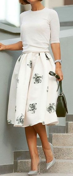 Grey Rose Print Pleated High Waisted Knee Length Sweet Elegant Skirt