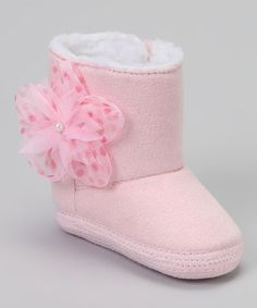 Take a look at this Pink Suede Flower Boot by Baby Deer on #zulily today!
