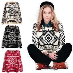 New Fashion Women Lady Geometry Pattern Knitted Pullover Jumper Loose Sweater Just for you-in Pullovers from Women's Clothing & Accessories on Aliexpress.com | Alibaba Group