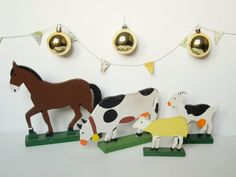 Vintage french wooden toys  farm animals  rustic  by 5LittleCups, $25.00