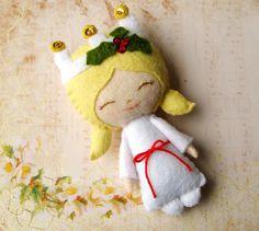 St. Lucia Felt Christmas Ornament - Swedish, Scandanavian, Santa Lucia, Sancta Lucia - Queen of Lights. $42.00, via Etsy.