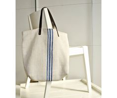 Grain Sack Shoulder Bag / Blue stripes / Antique european linen / Beach tote bag / Market handbag / Hemp handwoven fabric