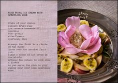 Recipe: Rose Petal Ice Cream with Sparkling Wine from Cleopatra Mountain Farmhouse, Midlands Meander, KZN, South Africa. www.midlandsmeander.co.za
