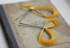 Yellow Hair Pins - Yellow Topaz Hair Accessories - School Bus Yellow Fascinators - Bridesmaids Gift Hair Pins - Prom - Maid of Honor