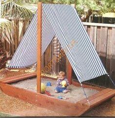leuke zandbak, zeker 2 palen voorzien om wat schaduw of regenbescherming te bieden