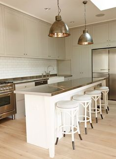 The Grace Tales - kitchens - gray cabinets, gray kitchen cabinets, gray kitchen, white kitchen island, long kitchen island, kitchen island w...