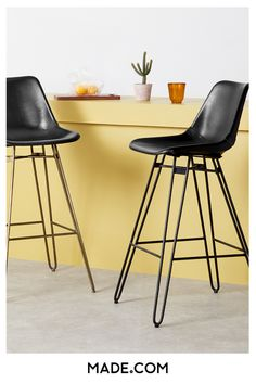 The brass hairpin legs and rivet detail give the Kendal bar stool a cool urban edge. It's an easy way to bring an on-trend industrial look to your home.