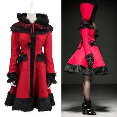 Cute Red Wool Hooded Sweet Lolita Fashion Dress Trench Coats Women SKU-11401763