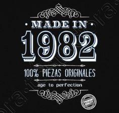 Camiseta Made in 1982. - nº 1302731 - Hombre, manga corta, negra, calidad extra. Sol's 190 gr/m2: 100 algodón semipeinado, 24/S hilo Ring Spun de calidad superior. Algodón preencogido. Tapacosturas reforzado en el cuello. Dis