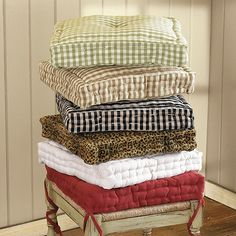 """Farmhouse Stool Cushion-filled with a 3"""" thick layer of soft poly fiber. Hand tufted and finished with a decorative piped edge. (Ballard Designs)"""