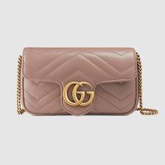 28d84c5c8d54 Gucci GG Marmont matelassé leather super mini bag Brown Leather Purses, Pink  Leather, Leather
