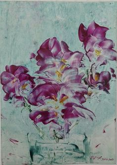Peinture à la cire sur carte - Rose-Marie Harris
