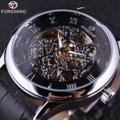 17.99$  Watch now - http://alih3h.shopchina.info/go.php?t=32701044504 - Forsining Retro Casual Design Retro Roman Number Display Black Silver Mechanical Skeleton Watch Men Watch Top Brand Luxury Clock 17.99$ #magazineonlinebeautiful