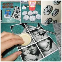 Photo Magnets Tutorial - made using baby jar lids